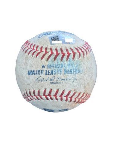 Photo of Game-Used Baseball from Pirates vs. Mets on 5/27/17 - Cole to Granderson, d'Arnaud, Wheeler, Conforto, Reyes - Granderson Triple, d'Arnaud RBI Single, Wheeler Bunt Pop Out, Conforto Reaches on E3, Reyes Foul
