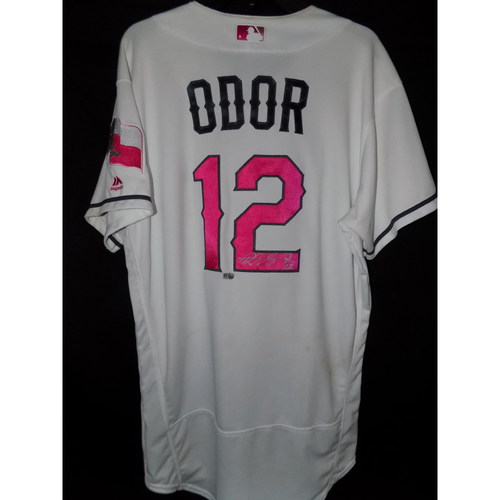 Photo of Rougned Odor Autographed Game-Used Commemorative Mother's Day Jersey Worn May 13th and May 14th 2017 Vs. Oakland A's
