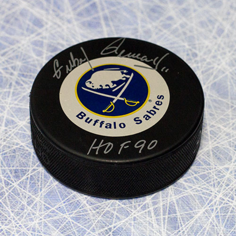 Gilbert Perreault Buffalo Sabres Autographed Hockey Puck with HOF Inscription