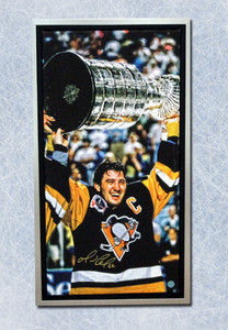 Mario Lemieux Pittsburgh Penguins Signed Stanley Cup 14x28 Framed Art Canvas