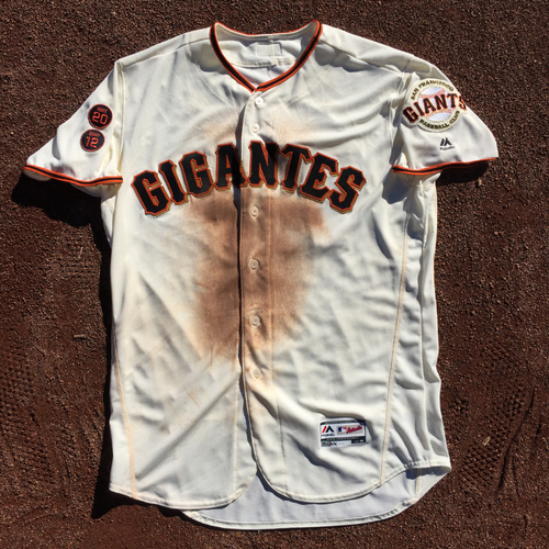 Photo of San Francisco Giants - 2016 Game-Used Home Jersey - Fiesta Gigantes - Worn by #10 Eduardo Nunez on 9/17 - 2-4  (Size: 48)