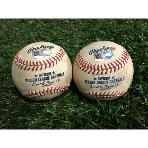 Photo of Game-Used Baseballs: Tim Beckham & Chris Young