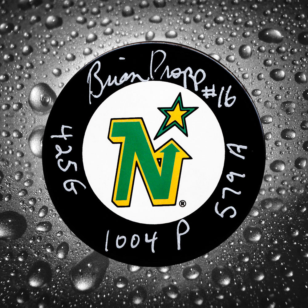 Brian Propp Minnesota North Stars Stats Autographed Puck