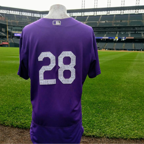 Photo of Colorado Rockies Nolan Arenado Game Worn Spring Training Jersey.