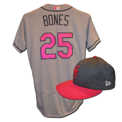 Photo of Ricky Bones #25 - Game Used Mother's Day Jersey and Hat - Mets vs. Brewers - 5/14/17