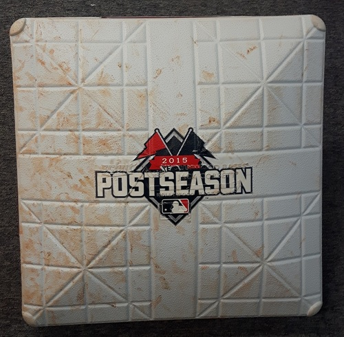 Photo of Authenticated Game Used Base - 1st Base for Innings 1 to 3: Texas at Toronto (October 8, 2015). 1st postseason game in 22 years.