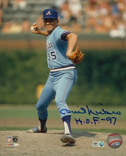 "Photo of Phil Niekro Autographed ""HOF 97"" 8x10"