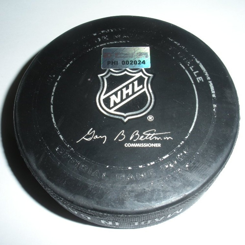 Nathan Horton - Boston Bruins - Goal Puck - March 30, 2013 (Flyers Logo)