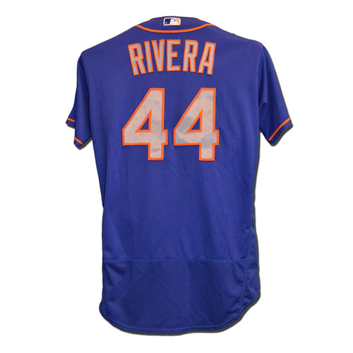 Photo of Rene Rivera #44 - Game Used Blue Alternate Road Jersey - Mets vs. Phillies - 10/2/16