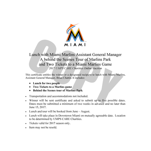 Photo of UMPS CARE AUCTION: Lunch with Miami Marlins Assistant General Manager plus 2 Marlins Tickets and Behind-the-Scenes Stadium Tour