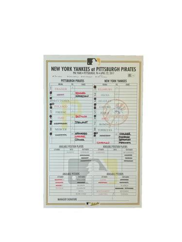 Photo of Game-Used Lineup Card from Pirates vs. Yankees on 4/22/17