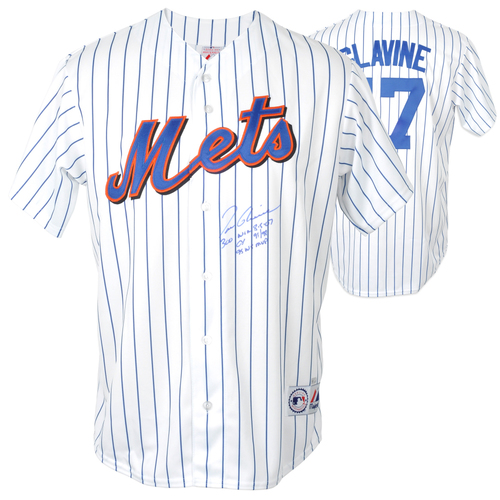 Photo of Tom Glavine New York Mets Autographed White Jersey with 3 Inscriptions