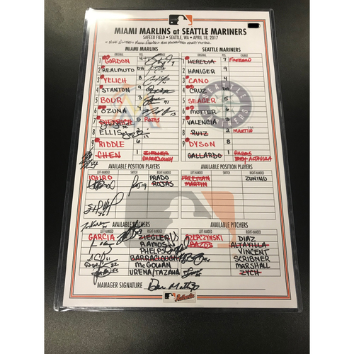 Photo of Game-Used Lineup Card: Marlins vs Mariners 4/18/17 (Autographed by Marlins Players, not authenticated by MLB)