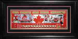 Sidney Crosby - Signed & Framed 12x36 Panorama Etched Mat - Team Canada 2014 Gold Medal Collage