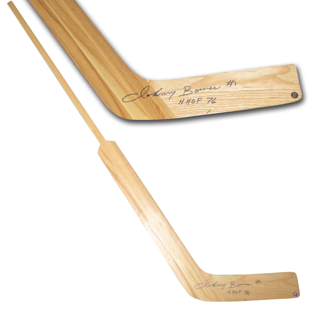 Johnny Bower Autographed Wooden Goalie Stick