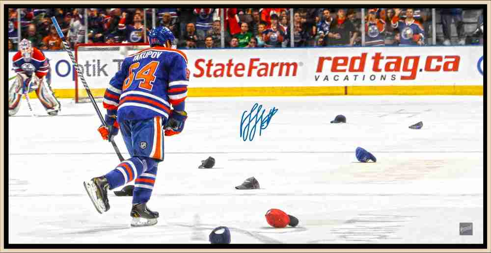 Yakupov 14x28 SIgned Hat Trick Canvas