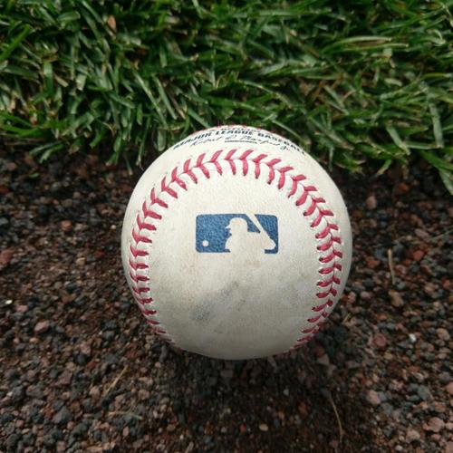 Photo of Game-Used Baseball. DJ Lemahieu RBI Double.