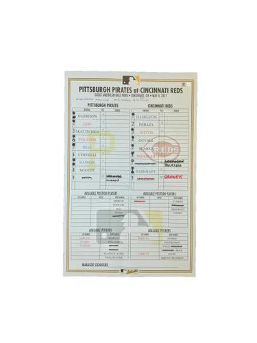 Photo of Game-Used Lineup Card from Pirates vs. Reds on 5/4/17 - Hamilton 200th Career Stolen Base