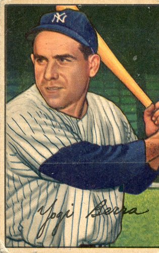 Photo of 1952 Bowman #1 Yogi Berra -- Hall of Famer