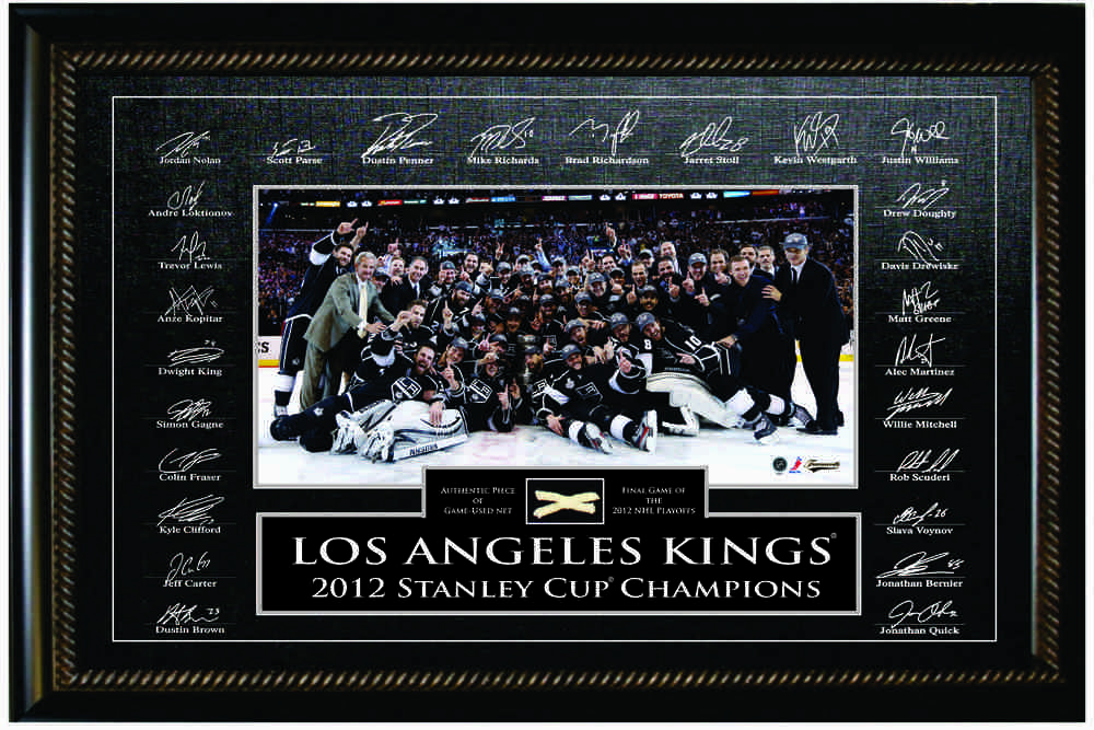 Los Angeles Kings 10x20 Etched Signature Frame - 2012 Stanley Cup Net Piece
