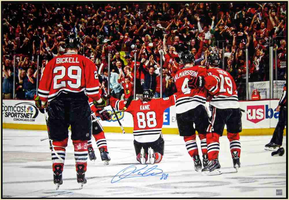 Kane,P Signed 24x35 Canvas Framed OT Goal Celebration