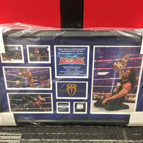 Photo of Roman Reigns WrestleMania 32 Signed Commemorative Plaque (#1 of 500)
