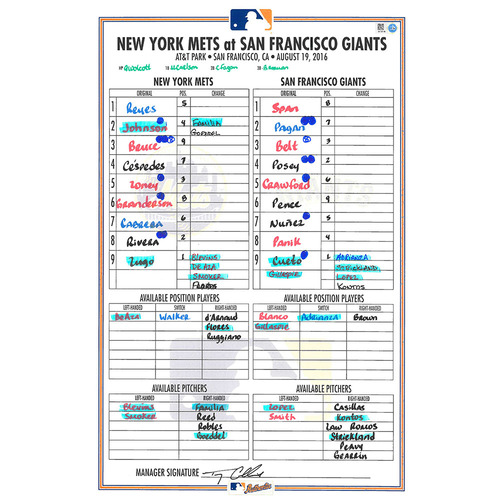 Photo of Game Used Lineup Card - Lugo's 1st Career Start; 6.2 IP, 3 ER, 3 Strikeouts - Mets vs. Giants - 8/19/16