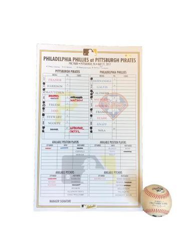 Photo of Game-Used Lineup Card and Game-Used Baseball from Pirates vs. Phillies on 5/21/17 - Nola to Freese, Bases Loaded Hit By Pitch, RBI. Pirates Win 1-0