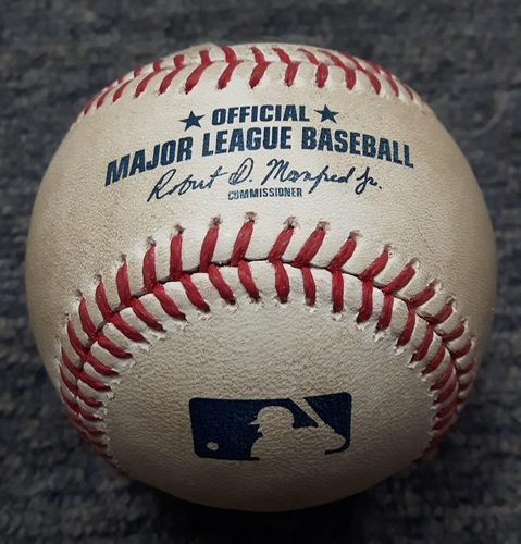 Photo of Authenticated Game Used Baseball - From Francisco Liriano's 100th Career Win Game: Ball on Slider by Francisco Liriano to Salvador Perez (TOR at KC on June 25, 2017)