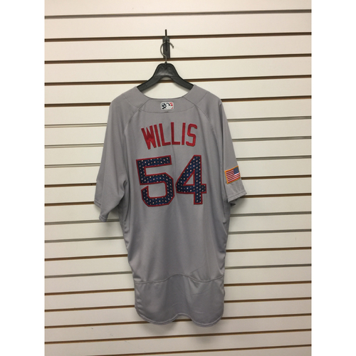 Photo of Carl Willis Game-Used July 4, 2017 Stars and Stripes Jersey