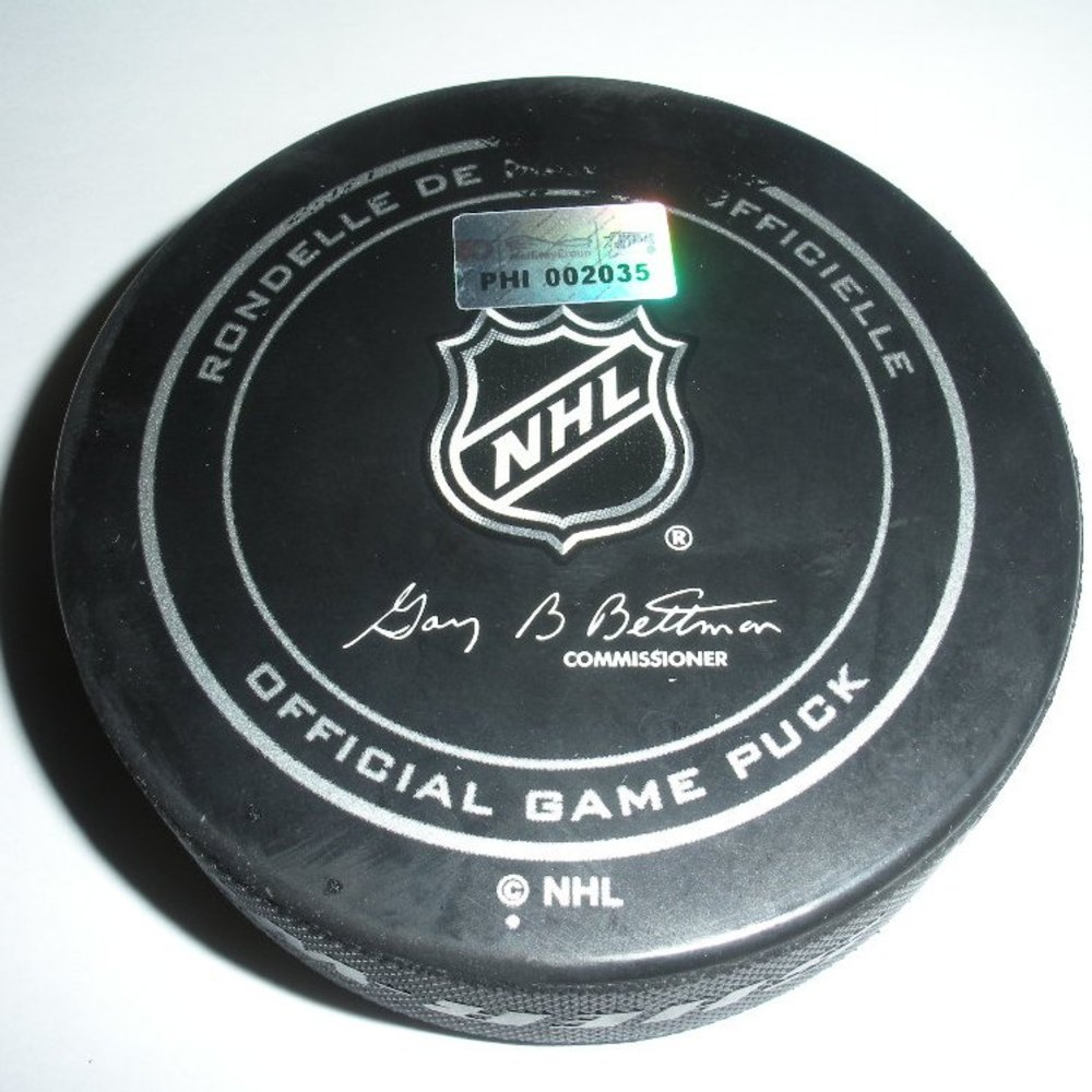 Nicklas Backstrom - Washington Capitals - Goal Puck - March 31, 2013 (Flyers Logo)