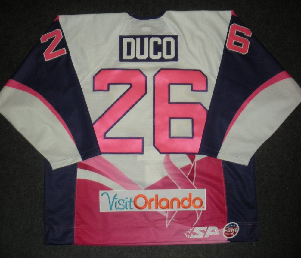 Mike Duco - Orlando Solar Bears - Hockey Fights Cancer Game-Worn Jersey