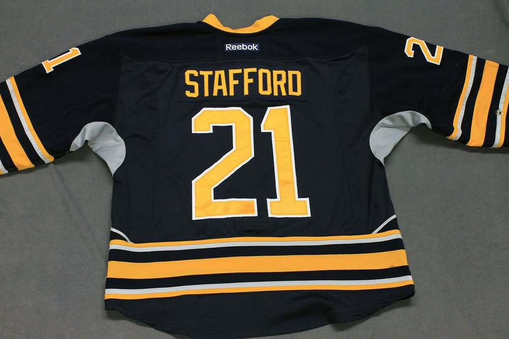Drew Stafford Game Worn Buffalo Sabres Home Jersey.  Serial: 1068-1. Set 1 - Size 56.  2013-14 season.