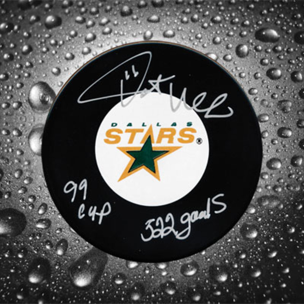 Pat Verbeek Dallas Stars Autographed Puck w/ 99 Cup & 522 Goals Inscription