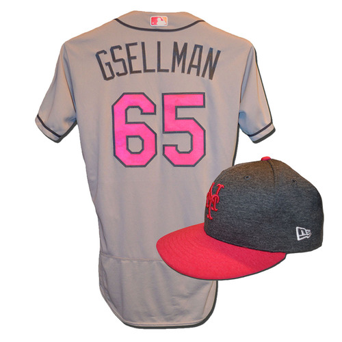 Photo of Robert Gsellman #65 - Game Used Mother's Day Jersey and Hat - Mets vs. Brewers - 5/14/17
