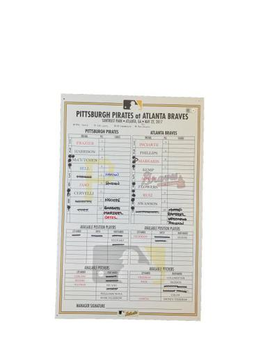 Photo of Game-Used Lineup Card from Pirates vs. Braves on 5/22/17 - Phillips 200th Career Home Run
