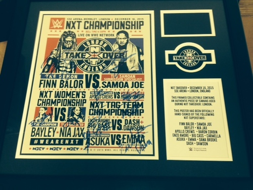 Photo of NXT TakeOver: London Autographed Match Card & Ring Canvas Frame