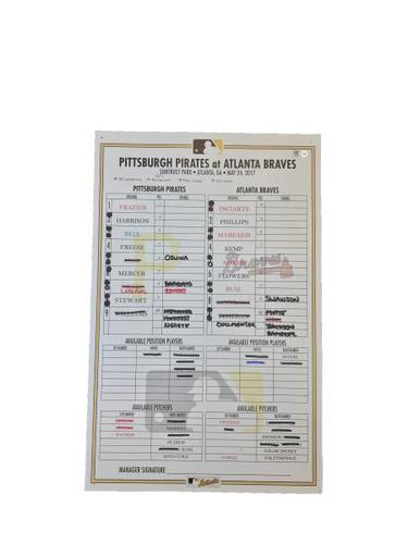 Photo of Game-Used Lineup Card from Pirates vs. Braves on 5/24/17 - Back-to-Back-to-Back Home Runs by Freese, Osuna, and Mercer
