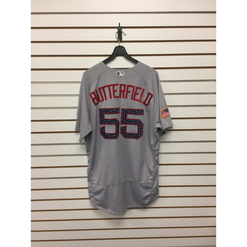 Photo of Brian Butterfield Game-Used July 4, 2017 Stars and Stripes Jersey
