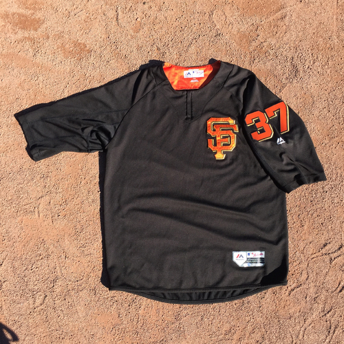 Photo of San Francisco Giants - 2017 Game-Used Batting Practice Jersey Worn by #37 Kelby Tomlinson (Size: L)