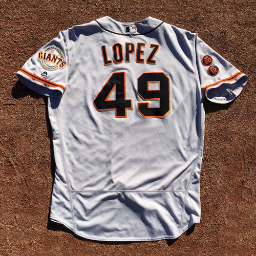 Photo of San Francisco Giants - 2016 Game-Used Road Jersey - Worn by #49 Javier Lopez on 9/24 (Size 50)
