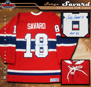 SERGE SAVARD Signed Montreal Canadiens Red CCM Vintage Jersey