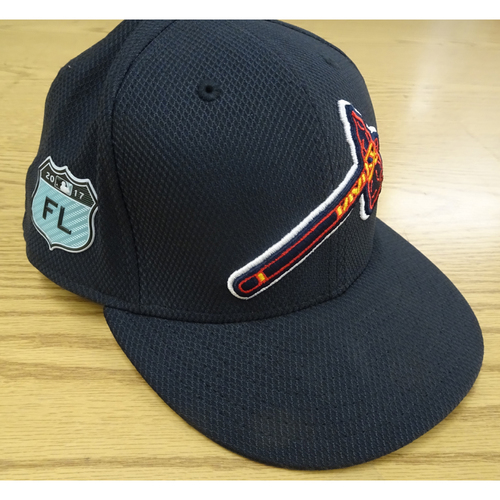Photo of Jace Peterson Game-Used 2017 Spring Training Cap - Worn at SunTrust Park March 31, 2017