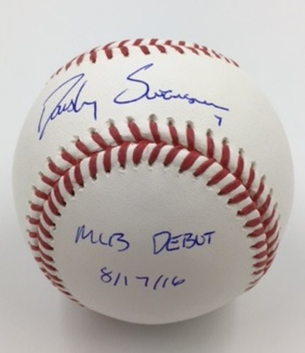 "Photo of Dansby Swanson ""MLB Debut 8/17/16"" Autographed Baseball"