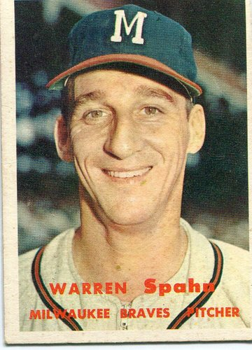 Photo of 1957 Topps #90 Warren Spahn -- Hall of Famer