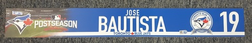 Photo of Authenticated Game Used Locker Name Plate - #19 Jose Bautista. 2016 Wild Card Game.