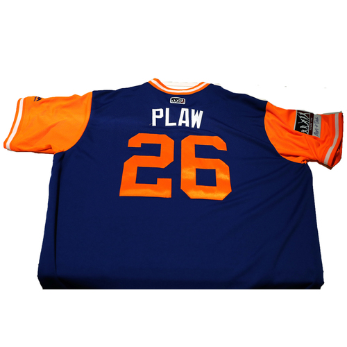 """Photo of Kevin """"Plaw"""" Plawecki New York Mets Game-Used Players Weekend Jersey"""