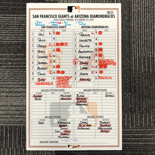 Photo of San Francisco Giants - HOLIDAY STEALS - 2017 Lineup Card - San Francisco Giants at Arizona Diamondbacks - August 25, 2017 - Brandon Crawford - 3-4, 2R - Pablo Sandoval - 2-4, 1 R