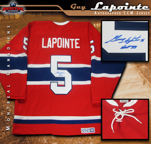 GUY LAPOINTE Signed Montreal Canadiens Red CCM Vintage Jersey