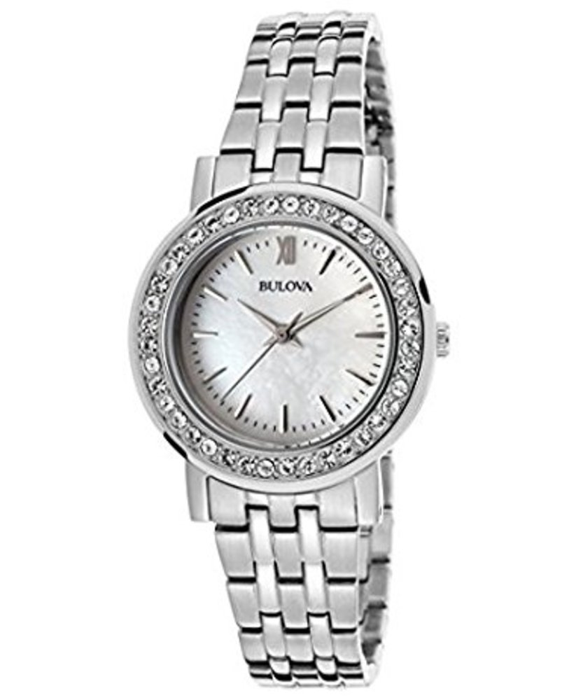 Bulova Women's Crystal Silver-Tone Stainless Steel Mother of Pearl Dial 98X111